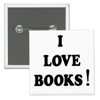 """Botón de los libros de los libros negros """"amo"""" pin cuadrado"""
