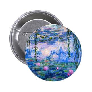 Botón de los lirios de agua de Monet Pin Redondo De 2 Pulgadas