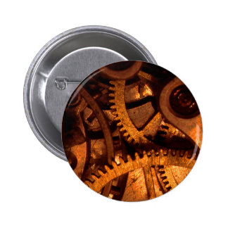 Botón de los mecanismos del engranaje de Steampunk Pin Redondo De 2 Pulgadas
