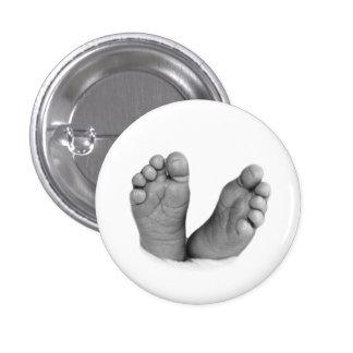 Botón de los pies del bebé pin redondo de 1 pulgada