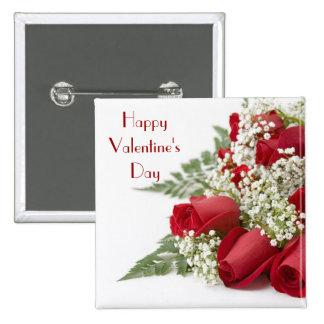 Botón de los rosas de la tarjeta del día de San Va Pin Cuadrado