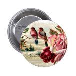 Botón de los rosas del pájaro del vintage pins