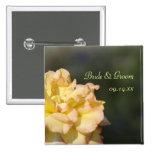 Botón de lujo del boda del rosa amarillo pin