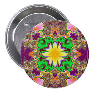 Botón de lujo del fractal pin redondo de 3 pulgadas