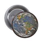 Botón de mármol azul del mosaico de la foto de la  pins