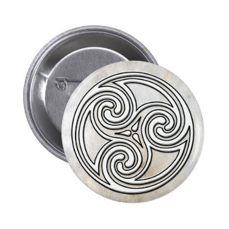 Botón de mármol de Triskelion del nudo irlandés cé Pin Redondo De 2 Pulgadas
