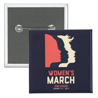 Botón de marzo de las mujeres de San Diego Pin Cuadrado