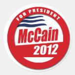 Botón de McCain 2012 Etiqueta Redonda