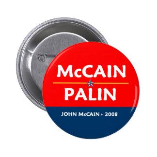 Botón de McCain Palin Pres VP Pin Redondo De 2 Pulgadas