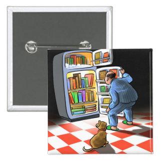 Botón de medianoche del bocado del libro pin cuadrado