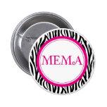 Botón de Mema - estilo de la cebra Pin