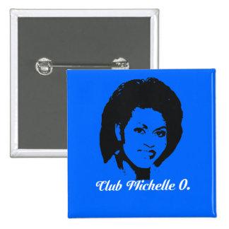 Botón de Michelle O del club, azul cerúleo Pin