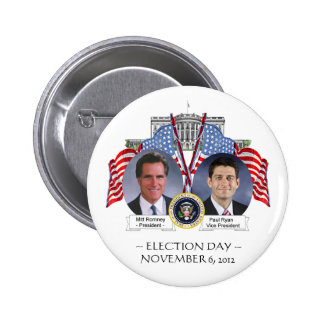 BOTÓN de Mitt Romney Paul Ryan del DÍA de ELECCIÓN Pin Redondo De 2 Pulgadas