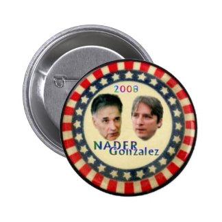 Botón de Nader/de Gonzalez Pin Redondo De 2 Pulgadas