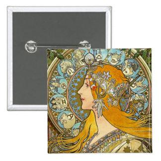 Botón de Nouveau del arte de Mucha - zodiaco - pen Pin Cuadrado