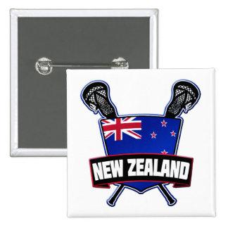 Botón de Nueva Zelanda LaCrosse Pin Cuadrado