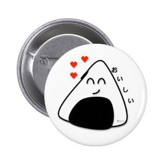 Botón de Oishii Onigiri (blanco) Pin Redondo De 2 Pulgadas