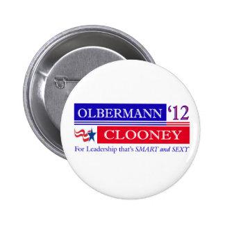 Botón de Olbermann Clooney 2012 Pin Redondo De 2 Pulgadas