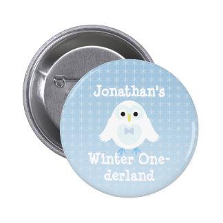 Botón de Onederland del invierno del muchacho del