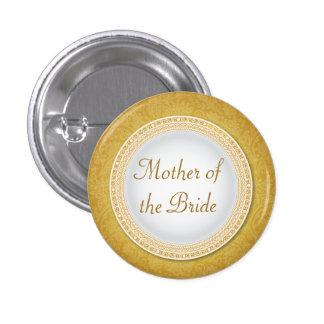 Botón de oro barroco del papel del boda de la pin redondo de 1 pulgada