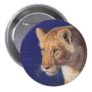 Botón de oro de la leona de la belleza pin redondo de 3 pulgadas