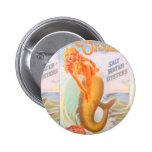 botón de oro de la sirena pin redondo de 2 pulgadas