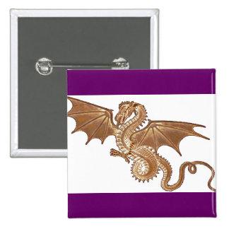 botón de oro del dragón pin cuadrado