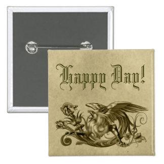 Botón de oro del estilo del pergamino de Griffon