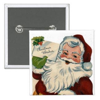Botón de Papá Noel del vintage Pin