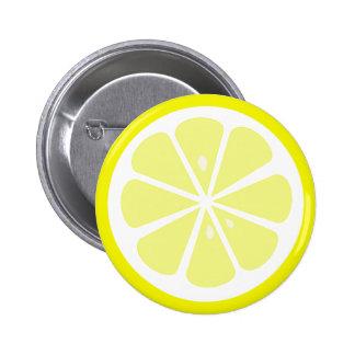 Botón de Pinback de la rebanada del limón Pin Redondo De 2 Pulgadas