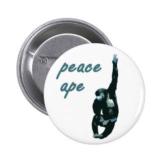Botón de Pinback del metal del mono de la paz Pin