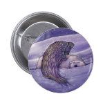 Botón de Pinback del oso polar del ángel Pin Redondo De 2 Pulgadas