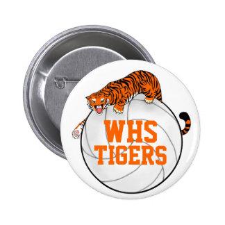 Botón de Pinback del voleibol de los tigres Pin Redondo De 2 Pulgadas
