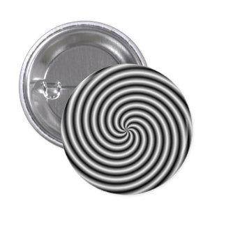 Botón de Pinback el remolino en blanco y negro Pin Redondo De 1 Pulgada