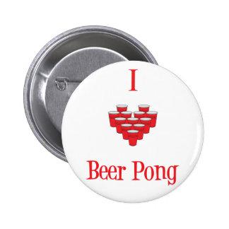 Botón de Pong de la cerveza I del corazón Pins