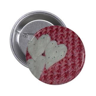 Botón de punto de la bufanda para el el día de San Pin Redondo De 2 Pulgadas