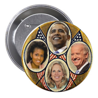 Botón de Quadragate 3-Inch de la familia de Demócr Pins