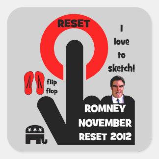 Botón de reinicio de Romney Pegatina Cuadrada