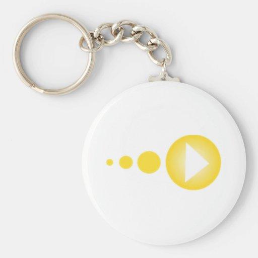 Botón de reproducción amarillo llaveros personalizados