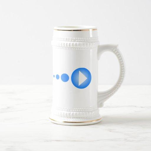 Botón de reproducción azul jarra de cerveza