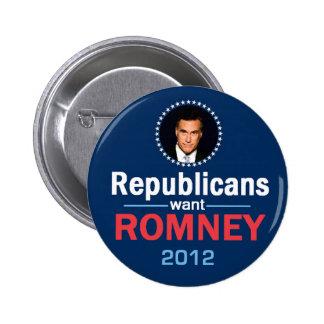 Botón de Romney 2012 Pins