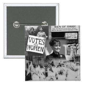 Botón de Sarah Palin del sufragio de las mujeres Pin Cuadrado