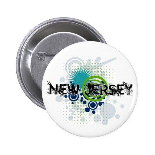 Botón de semitono de New Jersey del Grunge moderno Pin