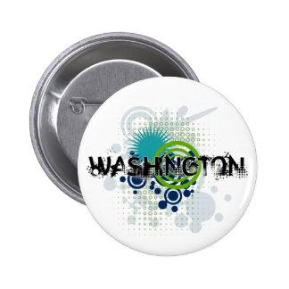 Botón de semitono de Washington del Grunge moderno Pin