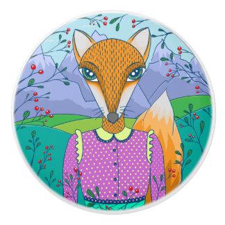 Botón de señora Fox Colorful Illustration Ceramic Pomo De Cerámica