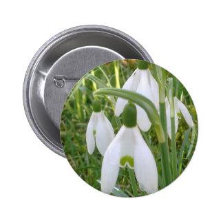 Botón de Snowdrops Pin Redondo De 2 Pulgadas