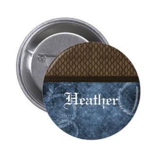 Botón de Steampunk del engranaje del metal azul Pin