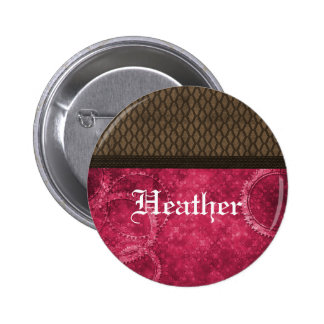 Botón de Steampunk del engranaje del metal rosado Pin