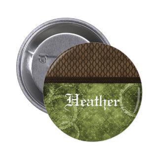 Botón de Steampunk del engranaje del metal verde Pin