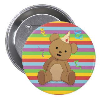 Botón de Teddybear del cumpleaños del arco iris Pin Redondo De 3 Pulgadas